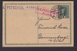 Österreich Zensur Ganzsache 8 Heller Ab Aussig Ústí Nad Labem Tschechien Nach  - 1850-1918 Imperium