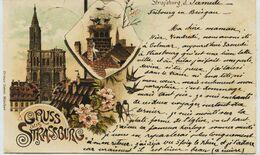 5922 - STRASBOURG : PIONNIERE 9.sept 1896 -  GRUSS AUS  Litho : Ottmar Zieher Munchen - Strasbourg