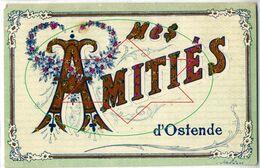 Souvenir - Un Bonjour - Humor - Groeten - Amities - Cartoon - La Gare - Au Depart - Une Pence - Oostende - Ostende - Oostende