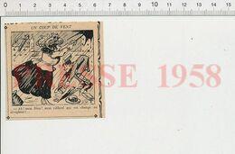 2 Scans Humour 1914 Parapluie Rifflard Aviation Femme Aviatrice ? Coupage Du Vin Oenologie Cuisine Couteau 51B11-B - Vieux Papiers