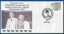 PAKISTAN 2019 MNH PRIVATE COVER 143rd BIRTH ANNIVERSARY OF QUIAD E AZAM MAHATMA GANDHI INDIA - Pakistan