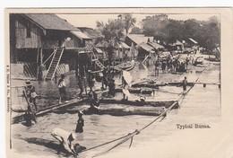 Burma A Typical Scene On River, Boats Docks Buildings C1900s Vintage Postcard - Myanmar (Burma)