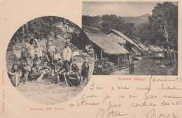 Burma, A Village Scene And Burmese Hill Tribes, C1900s Vintage Postcard - Myanmar (Burma)