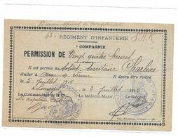 PERMISSION SOLDAT SECRETAIRE CHARLIAC 63 REGIMENT INFANTERIE POUR AIXE SUR VIENNE 1915 - 1914-18