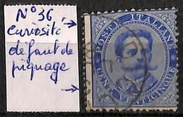 D - [829675]TB//O/Used-Italie 1879 - N° 36-cur, 25c Bleu, Défaut De Piquage, Dentelure Gauche En Couleur, Curiosité - Gebraucht