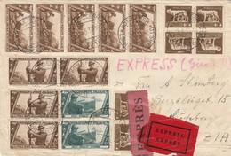 ESPRESSO 1933 5X5(RARO)+4X10+2X15 X ANNUALE+6X5 +AL VERSO ESPRESSO 2,50 TIMBRO ROMA  GUTENBORG (KP25 - Storia Postale