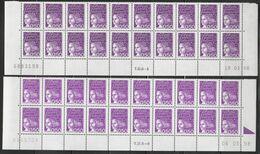 3088+3088b 50c Violet-rouge LUQUET -2 Bas Feuillesx 20 -TD 6-5 Du 19.03.98 Type I Foncé-TD 6-6 Du 06.05.98 Type II Clair - 1997-04 Marianne Of July 14th