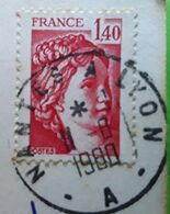 Cachet AMBULANT Nantes A Lyon / Sabine 1,40 F, Sur Carte Multivues Chateau De SAUMUR, 1980, TB - Matasellos Manuales