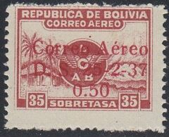 Bolivia, Scott #C54, Mint Never Hinged, Emblem Of Lloyd Aereo Boliviano Surcharged, Issued 1937 - Bolivië