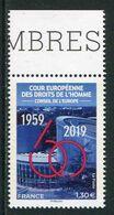 """TIMBRE**de 2019 En Bord De Feuille Du CONSEIL DE L'EUROPE """"60e Anniversaire De La Cour Européenne Des Droits De L'Homme"""" - Nuevos"""