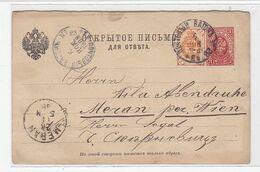 Russland Ganzsache Mit Zusatzfrankatur Nach Meran über Wien   Text Jiddisch - 1857-1916 Impero