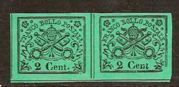 (Fb).A.Stati.Pontificio.1867.-2c Verde,coppia Nuova.Il Val Di Destra Senza Punto Dopo Cent. (96-19) - Kirchenstaaten