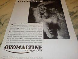 ANCIENNE PUBLICITE EN ETAT DE DEFENSE OVOMALTINE 1934 - Afiches
