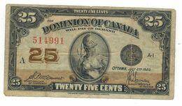 Dominion Of Canada , 25 Cents, 1923, F/VF. - Canada
