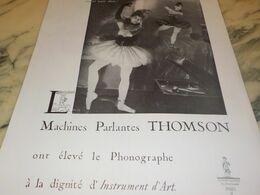 ANCIENNE PUBLICITE MACHINES PARLANTES THOMSON  1934 - Radio & TSF