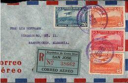 ! Luftpostbrief 1939 Aus San Jose, Costa Rica N. Saarbrücken, Einschreiben, Recommande, Registered, Devisenüberwachung - Costa Rica