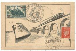 PETAIN 70C+ 1FR PASTEUR AU RECTO CARTE SALON DE LA MARINE 23 JUIL 1943 PARIS - 1921-1960: Periodo Moderno