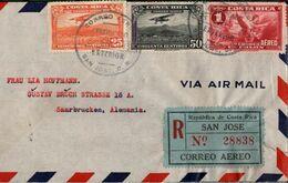 ! Luftpostbrief 1938 Aus San Jose, Costa Rica N. Saarbrücken, Einschreiben, Recommande, Registered, Devisenüberwachung - Costa Rica