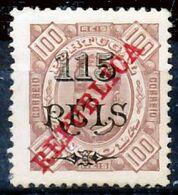 !■■■■■ds■■ Angola 1915 AF#183* REPUBLICA K.Carlos 115/100 12,5 (x2833) - Angola