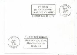 CARTON BLANC MECANIQUE SECAP SPECIMEN 28.6.1979 ANTIQUAIRES CHARTRES GARE - Postmark Collection (Covers)