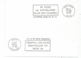 CARTON BLANC MECANIQUE SECAP SPECIMEN 28.6.1979 ANTIQUAIRES CHARTRES GARE - Sellados Mecánicos (Publicitario)
