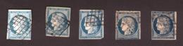 Cérès - Lot De 5 X N° 4 - Nuances Bleu Clair à Bleu Très Foncé - Défectueux - 1849-1850 Ceres