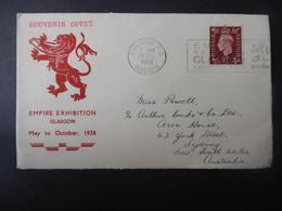 GREAT BRITAN POSTAL HISTORY SOVENIR COVER EMPIRE EXHIBITION GLASGOW To AUSTRALIA - Postmark Collection
