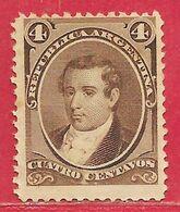 Argentine N°17 4c Brun 1867-73 (*) - Unused Stamps