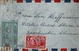 ! Einschreiben, Recommande, Registered Letter, Luftpostbrief 1936 Aus Costa Rica Nach Saarbrücken, Devisenüberwachung - Costa Rica