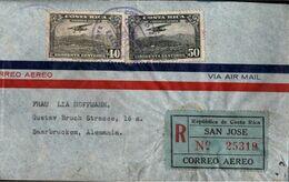 ! Einschreiben, Recommande, Registered Letter, Luftpostbrief 1937 Aus Costa Rica Nach Saarbrücken, Devisenüberwachung - Costa Rica