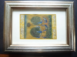 Water Colour Painting; Peccocks On Printed Paper Of Urdu Dictionary - Arte Asiatica