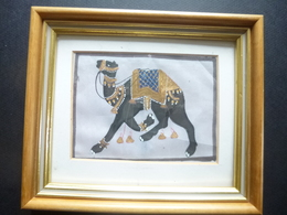 Water Colour Painting; Camel On Run On Cloth Framed Size - Arte Asiatica
