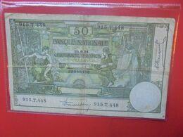 BELGIQUE 50 FRANCS 1924 Circuler - [ 2] 1831-... : Regno Del Belgio