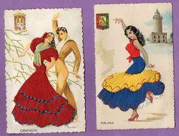 Espagne   Granada - Malaga -  Costume Femme Et Coup  Robe Brodée  - Carte Non Ecrite - Le Lot De 2 - - Otros