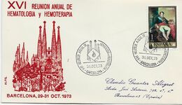 3553    Carta Barcelona 1973, XVl Reunión Anual De Hematologia Y Hemoterapia - 1931-Aujourd'hui: II. République - ....Juan Carlos I