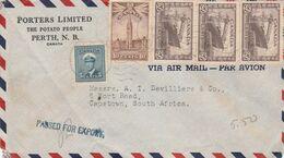 POERTHOUSE / Porters Ltd, The Potato People, Cover, 75c, PERTH N.B. JUN6 45 C.d.s. > S.Africa, PASSED FOR EXPORT Cachet - 1937-1952 Regno Di George VI
