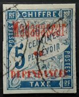 MADAGASCAR 1896, TAXE Type DUVAL,  Yvert No 1, 5 C Bleu Obl TB - Segnatasse