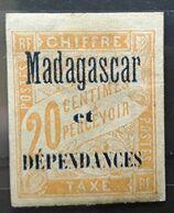 MADAGASCAR 1896, TAXE Type DUVAL,  Yvert No 3, 20 C Jaune Foncé BORD DE FEUILLE,   Neuf * MH, TB - Impuestos