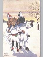 Illustrateur Herm Frenz, Dachshund (2) Dog Dressed As Clown Chien Habillé 1918 - Autres Illustrateurs
