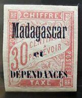 MADAGASCAR 1896, TAXE Type DUVAL,  Yvert No 4, 30 C Rouge , Neuf * MH, TB - Segnatasse