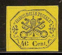 (Fb).A.Stati.Pontificio.1867.-40c Giallo Nuovo Con Varietà Non Catalogata (189-20) - Kirchenstaaten