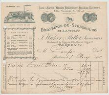GIRONDE:J. WICKER & RITTER, Brasserie De Strasbourg, Bld De Talence / L. De 1915 - Food