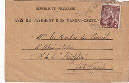 FRANCE 1945 AVIS D'UN PAIEMENT DE MANDAT CARTE - Poststempel (Briefe)