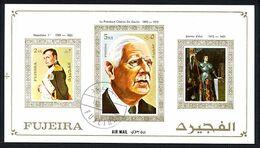 FUJEIRA 1972, NAPOLEON, DE GAULLE, JEANNE D'ARC, 1 Bloc Non Dentelé, OBLITERE. RBDG - De Gaulle (Generaal)