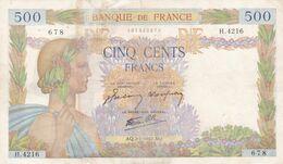 France  500 Francs  - La Paix  - 1942   Coupures  Vente  En L'état - 500 F 1940-1944 ''La Paix''