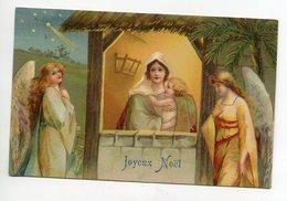 ANGES 104 Joyeux Noel Anges Entourant La Creche Marie Et Petit Jésus  Edit Kf Série 731  - Timb 1907 - Engelen