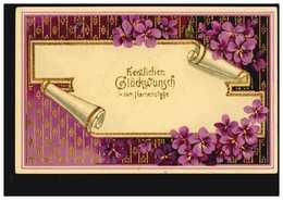 Ansichtskarte Namenstag Veilchengirlande Um Brief, Vergoldet, LEVICO 24.5.1913 - Feiern & Feste