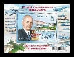 Belarus 2020 Mih. 1366 (Bl.191) Aviation. Aerospace Engineer And Aircraft Designer Pavel Sukhoi MNH ** - Wit-Rusland