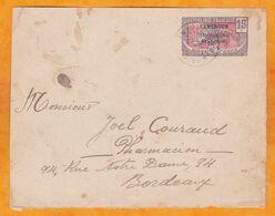 1915 - Devant D'entier Postal Enveloppe 15 C Panthère MOYEN CONGO  CAMEROUN Occupation Française Vers Bordeaux - Briefe U. Dokumente