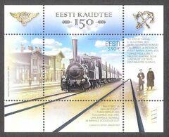 Trains Estonian Railways 150 Estonia 2020 MNH Sheet Mi BL52 - Estonia